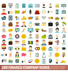 100 finance company icons set flat style vector