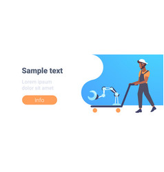 African american man pulling trolley hand truck vector