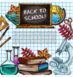 Back to school supplies poster on squared paper vector
