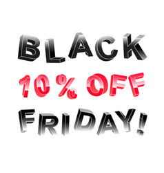 Black friday lettering banner of 3d letters vector