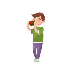 boy eating burger cartoon vector image