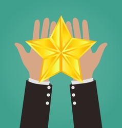 Businessman Hands Giving Gold Star vector image