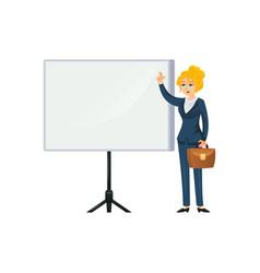 businesswoman making presentation on white vector image