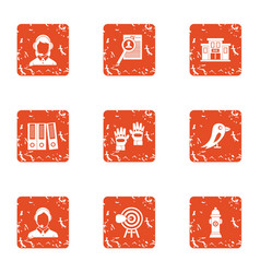 Cadastre icons set grunge style vector