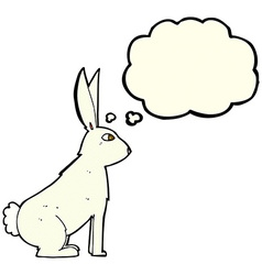 cartoon rabbit with thought bubble vector image