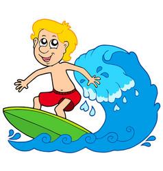 cartoon surfer boy vector image