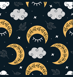 Celestial seamless pattern with moon in night vector