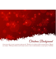 christmas background with snowflakes in red color vector image