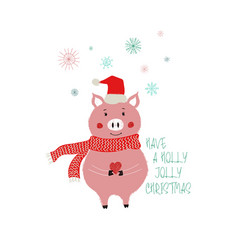christmas card with cute pig vector image