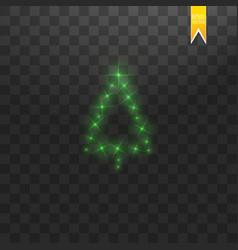 christmas tree made green glitter bokeh lights vector image