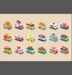 Colorful flat set of isometric food trucks vector
