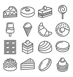 confectionery and sweet pastry icons set line vector image