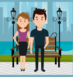 couple on the park vector image