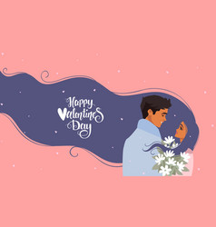 couple romantic flowers blue vector image