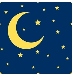 Crescent moon and stars seamless pattern vector
