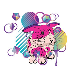 cute bunny with patterns vector image