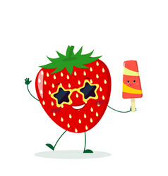 cute strawberry cartoon character in sunglasses vector image