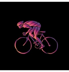 Cyclist in a bike race Neon clipart vector