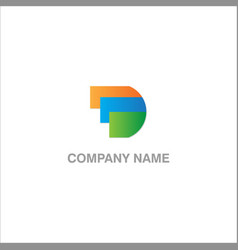 d initial colored logo vector image