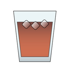 Dark beverage in glass with ice icon image vector