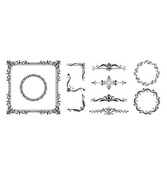 Decorative frame elements vintage monogram design vector