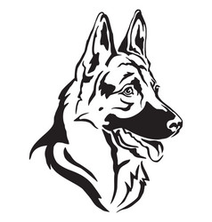 Decorative portrait of german shepherd in profile vector
