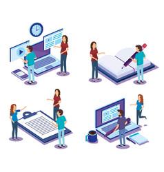 Digital technology with teamwork isometrics vector