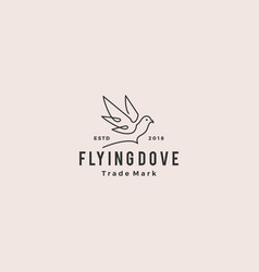 Dove logo vintage hipster retro icon line outline vector