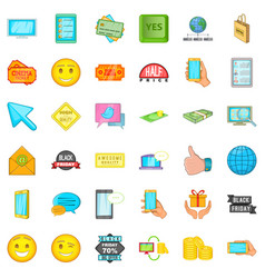 Ecommerce icons set cartoon style vector