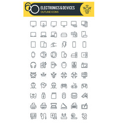 electronics and devices icons vector image