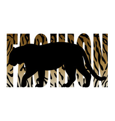 Fashion t-shirt print with tiger silhouette and vector