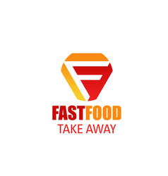 fast food takeaway letter f icon vector image