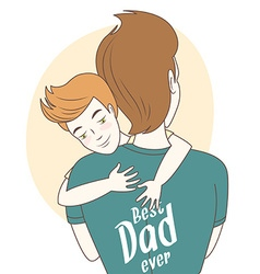 Father and son hugging Hand drawn style greeting vector image