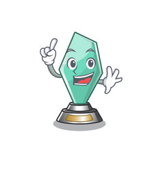 Finger acrylic trophy stored in cartoon drawer vector