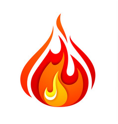 fire flame yellow red vector image