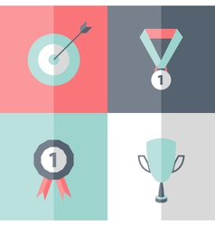 Flat career success icons set vector