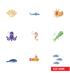 flat icon marine set of tuna hippocampus conch vector image