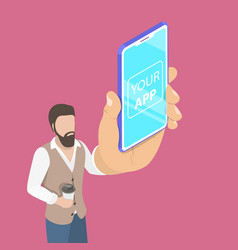 Flat isometric concept of mobile app launch vector