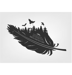 Flying birds and forest in feather vector
