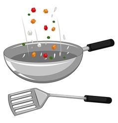 Frying pan and spatula vector