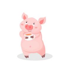Funny pig drinking tea cute little piglet cartoon vector