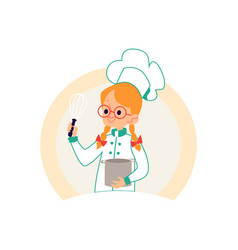 Girl cook in chef clothes holding a pot and a vector