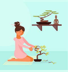 girl trimming bonsai tree in vector image