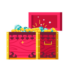 gold coins and gemstones treasures chest money and vector image