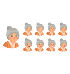 grandmother emotions set woman lady vector image