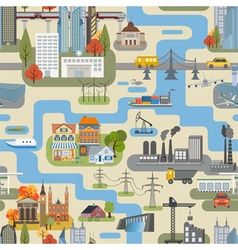 Great city map creatorSeamless pattern map Houses vector image vector image