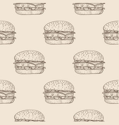 hamburger seamless pattern hand drawn sketch on vector image