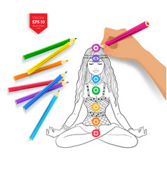Hand drawing meditating woman and chakras vector