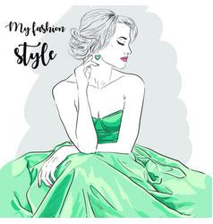 Hand drawn woman in dress fashion model vector