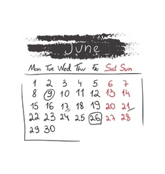 Handdrawn calendar June 2015 vector image